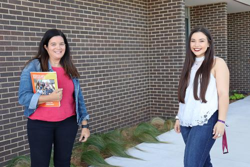 Student Support Services director Amy Graham meets with student Cheyenne Leach