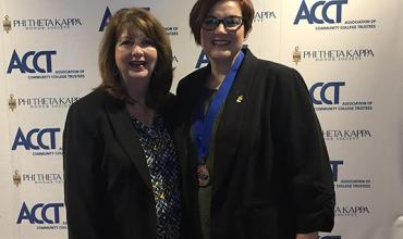 Redlands nursing student Christy Rutherford (right), recipient of the inaugural 2018 New Century Workforce Pathway Scholar award, and Janie S. Thompson, a member of the Redlands Board of Regents, attended the awards ceremony in New York City.