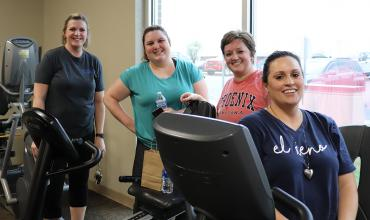 City of El Reno employees exercising during Fittest of the Fit challenge