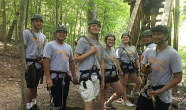 Upward Bound students zipline